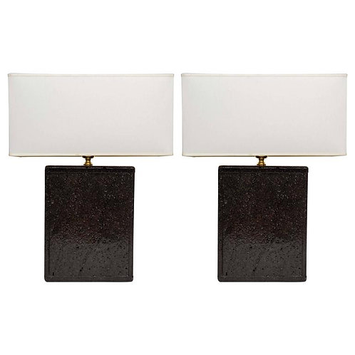 Pair of Black Lava Rock Lamps