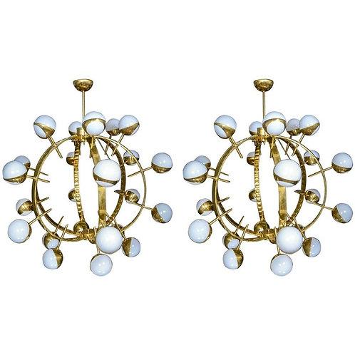Pair of Round Brass Chandeliers