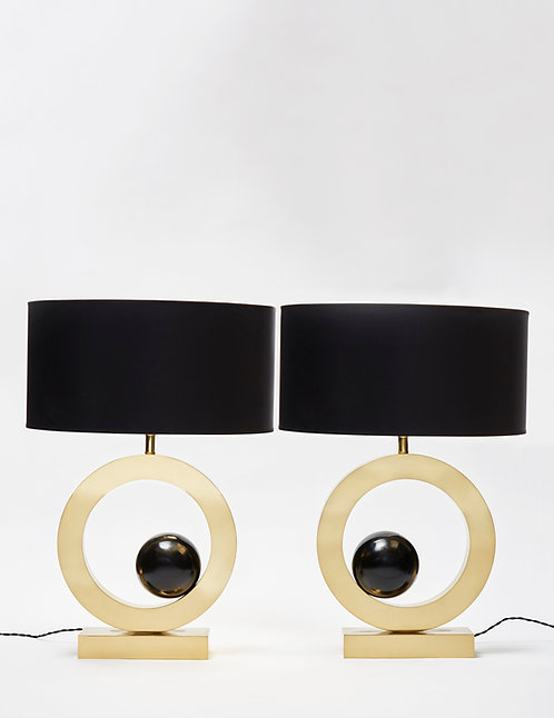 Pair of Brass Circular Lamps with Black Wood Spheres