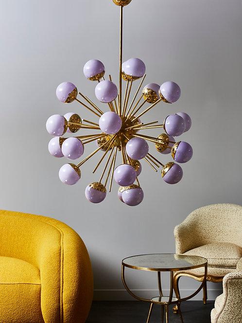 Brass Sputnik Chandelier with Lilac Glass Globes