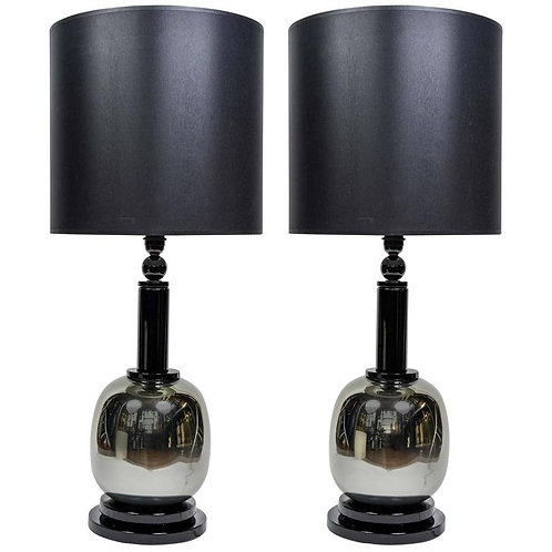 Pair of Silver and Black Murano Glass Lamps