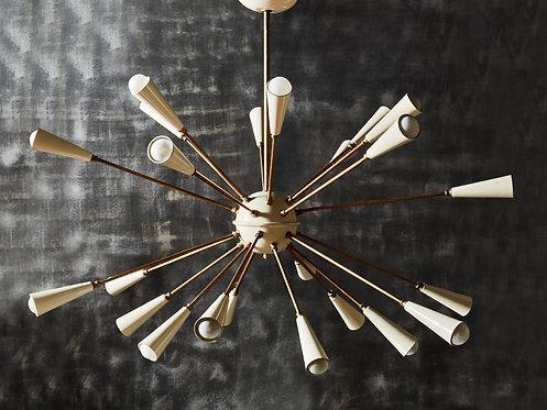 Vintage Brass and White Enamel Metal Sputnik Chandelier