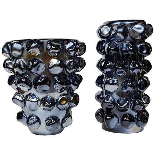 Amazing Pair of Metallic Blue Fabiano Amadi Vases