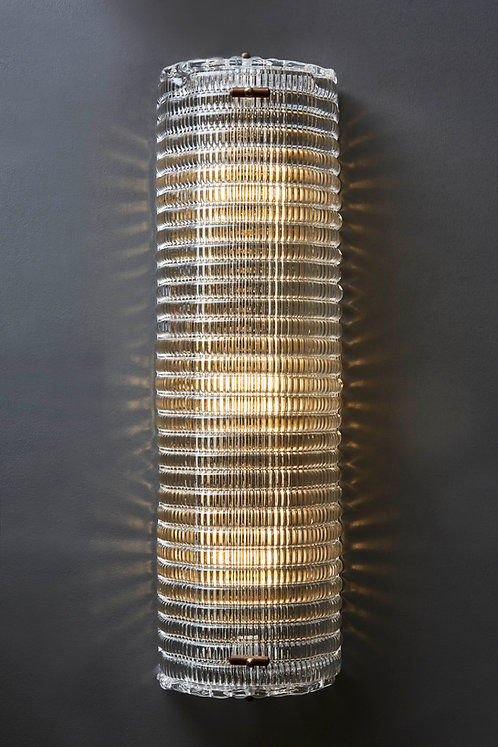 Clear Textured Murano Glass with Brass Setting