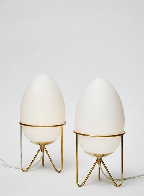 Pair of Small Eggs Shaped Table Lamps with Brass Feet