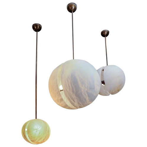 Set of Three Brass and Alabaster Half Spheres Suspensions by Glustin Luminaires