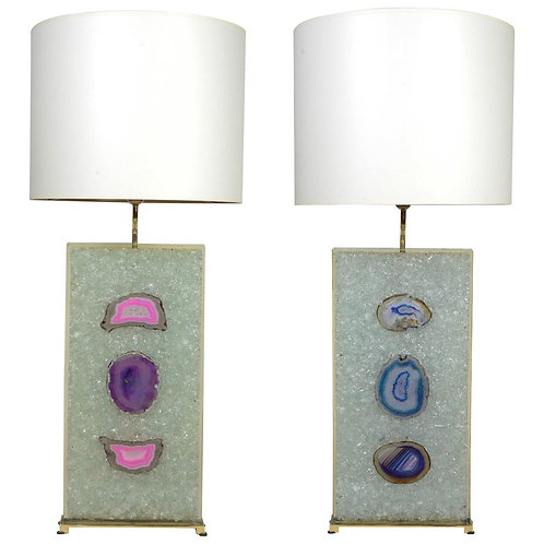 Fractale Resin and Agates Pair of Lamps
