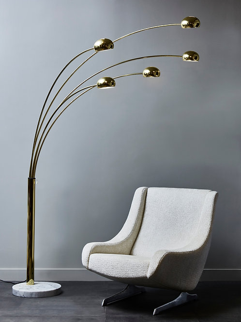Arc Floor Lamp with Five Adjustable Brass Arms and White Marble Foot