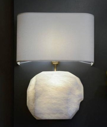 Glustin Luminaires Creation Alabaster and Brass Wall Sconces