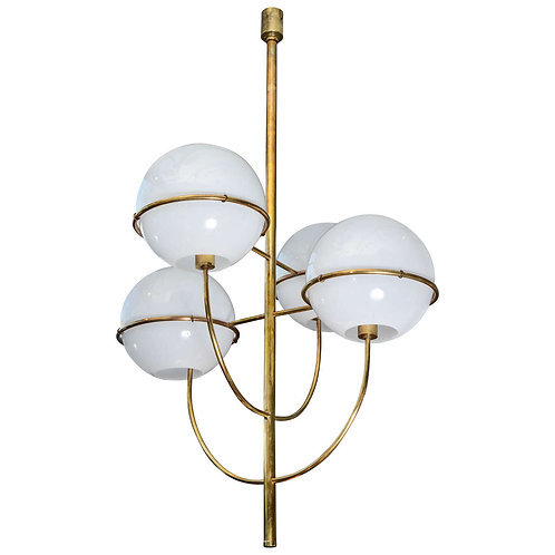 Brass and Glass Chandelier in the Style of Vico Magistretti