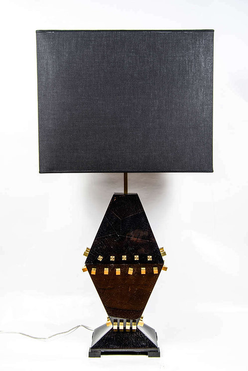 Pair of Black Egg Shell Aspect Wood and Brass Lamps
