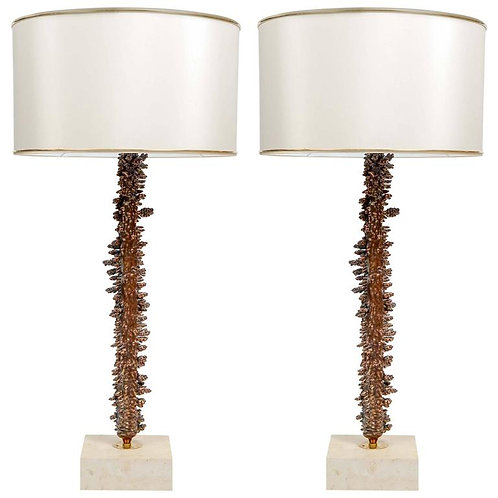 Copper-Plated and Travertine Pair of Table Lamps