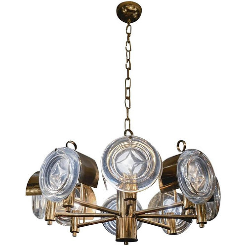 Small Brass and Glass Lenses Sciolari Chandelier