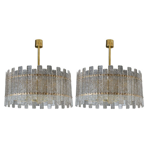 Pair of Brass Murano Glass Chandeliers