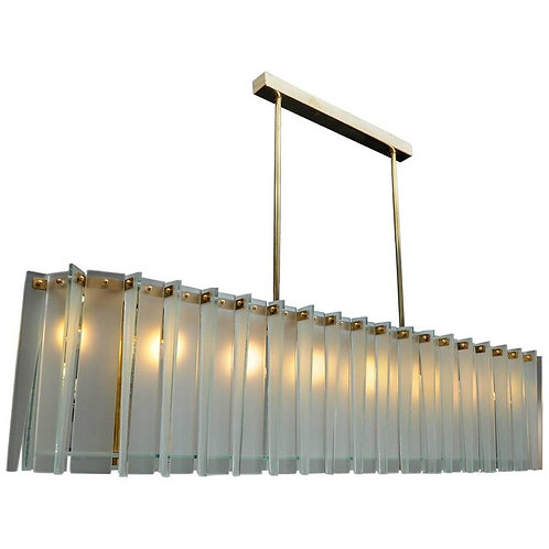 Long Brass and Frosted Glass Glustin Luminaires Creation Chandelier
