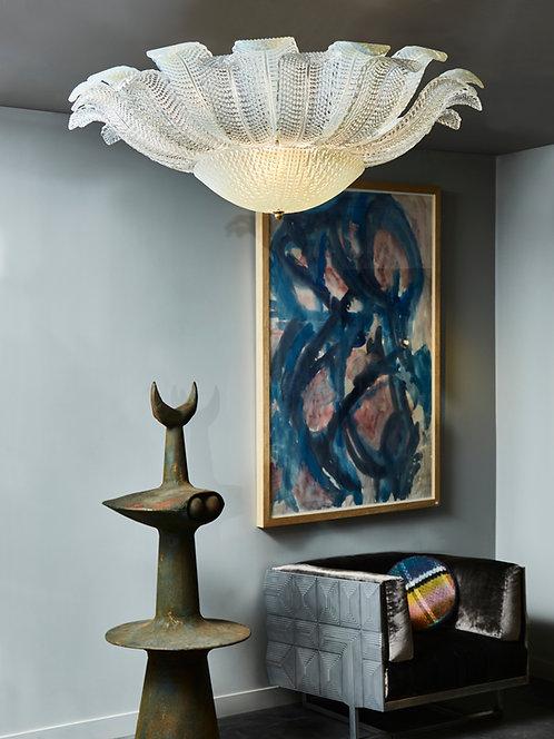 Iridescent Murano Glass Leaf Flush Mount