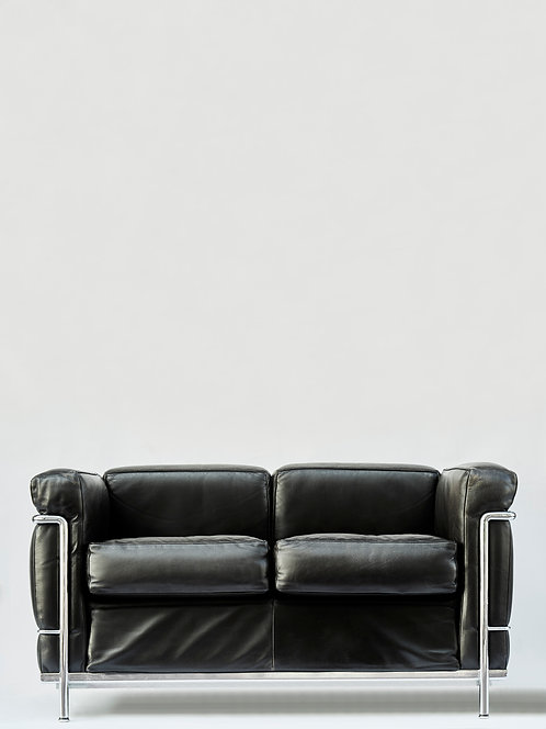 Pair of LC2 Two Seats Sofas by Le Corbusier edited by Cassina