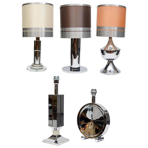 Set of Five Different Stainless Steel Lamps with Original Shades