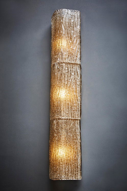 Pair of Tall Textured Murano Glass Wall Sconces