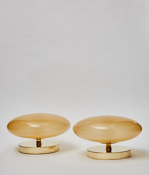 Pair of Small Brass and Glass Table Lamps