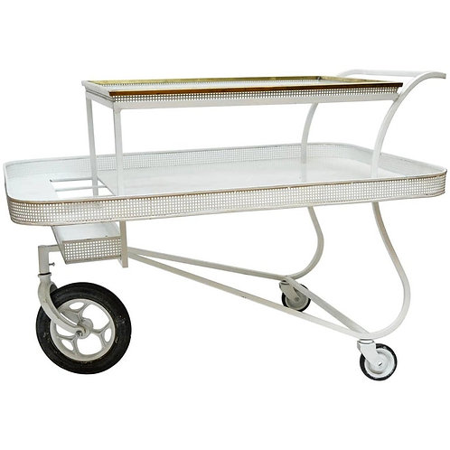 Serving Cart with Removable Tray In the Style of Mathieu Mategot