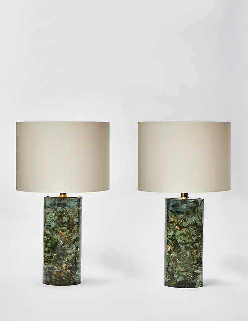 Pair of Green Fractal Resin and Gold Leaves Table Lamps