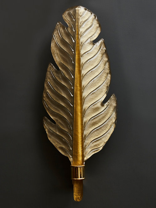 Pair of Gold Tinted Murano Glass Leaves Wall Sconces with Brass Setting