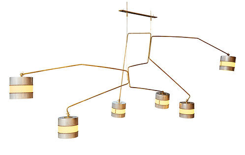 PR2 Huge Chandelier by Diego Mardegan in Brass and Parchemin Paper