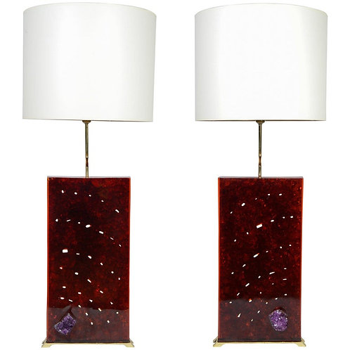 Fractale Resin, Ivory and Amethyst Pair of Lamps