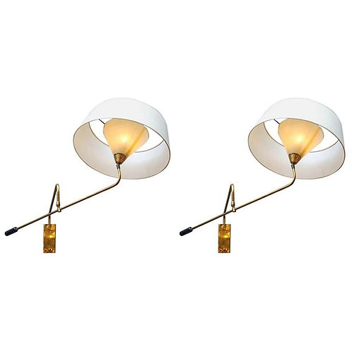 Adjustable Arm Brass Wall Sconces with Shades