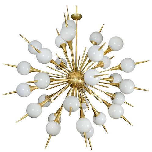 Sputnik Chandelier with Grey Murano Glass Globes
