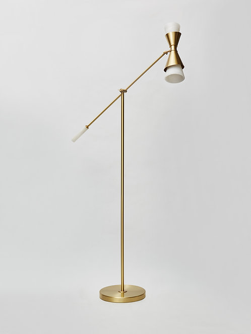 Brass and Alabaster Cone Floor Lamp by Glustin Luminaires