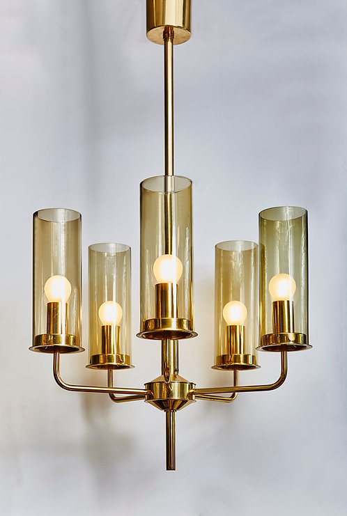Brass and Glass Chandelier T434-5 by Hans Agne Jakobsson