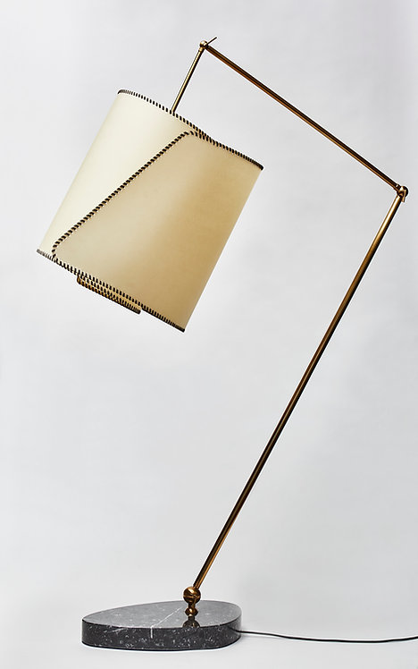 Parchment, Brass and Marble Floor Lamp by Diego Mardegan for Glustin Luminaires