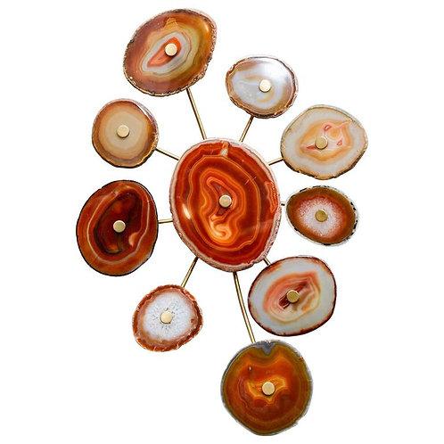 Circular Ten-Agate Wall Sconce