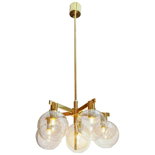 Pair of Brass and Glass Five Lights Chandeliers by Hans Agne Jakobsson
