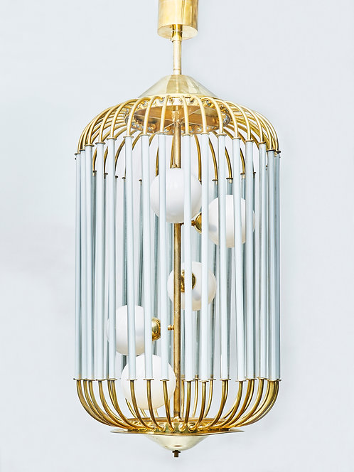 Vintage Bird Cage Shaped Chandelier With Glass Globes