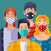 Personnes avec masque chirurgical qualité de l'air