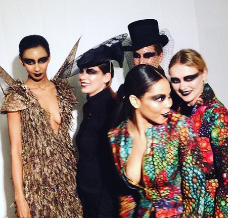 Models posing for the camera at Luke Archer's AW16 Ophidia London Fashion week show.