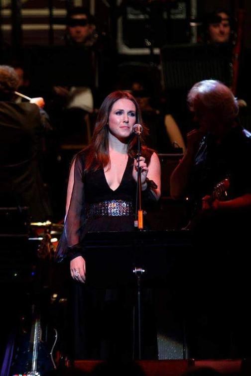 Scottish singer-songwriter Sandi Thom wearing a bespoke Luke Archer gown at the Royal Albert Hall London.