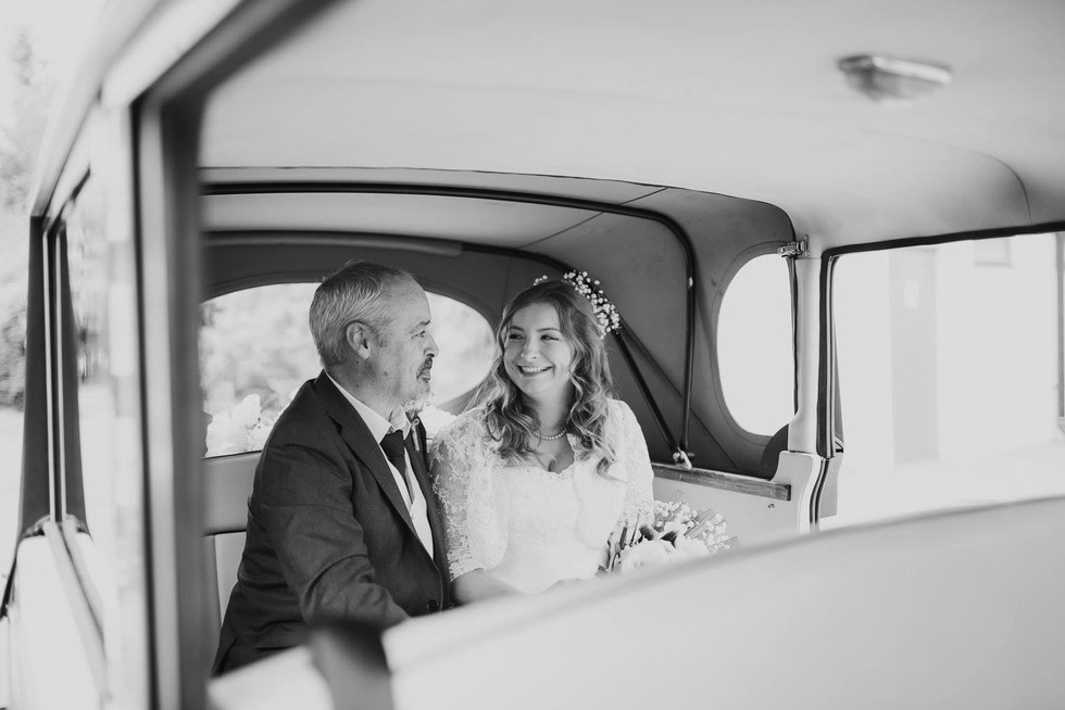 Bride with her father enroute