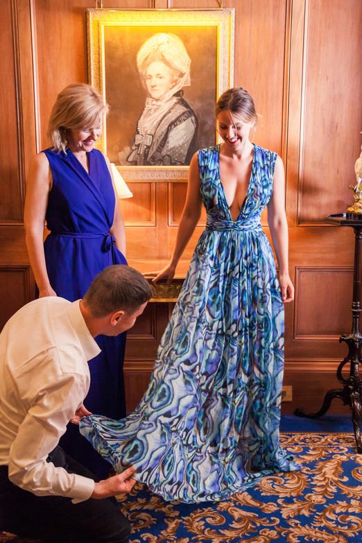 SS14 Abalone print dress, modelled by Ella Mountbatten, styled By Lukas Kroulik and photgraped by Eliška Sky.