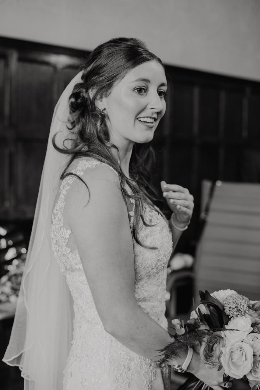 Nina Wearing bespoke Luke Archer Wedding gown and veil.