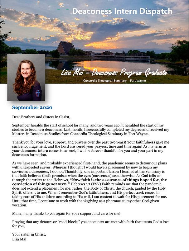 Deaconess Intern Dispatch for September
