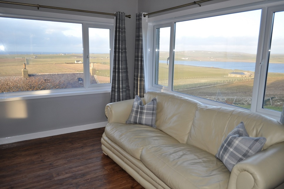 Living room- views across Birsay Bay