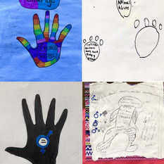 Learning about graphic design inspired students to take different approaches when thinking about how to continue creating their social justice topics through their artwork.  (Final social justice artwork by 6th grade students at IS77Q)