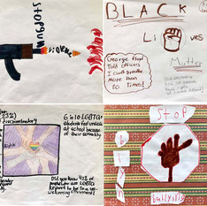The following two pages show a compilation of some  6th grade students final images for their social justice topics.  As part of their thought process, I introduced them to graphic design and how this is used for communication.