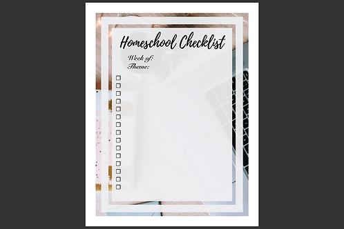Weekly Homeschool Checklist Interactive Printable