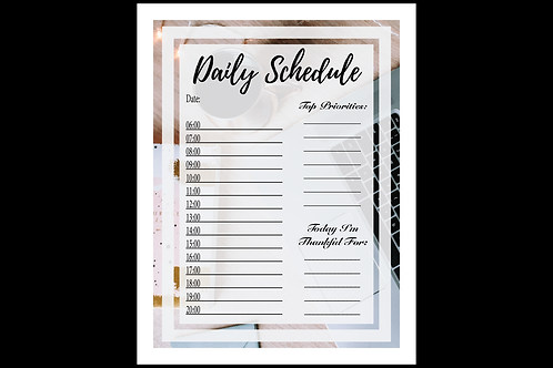 A daily schedule interactive printable created by The Cold Coffee and Cotton Stems Blog