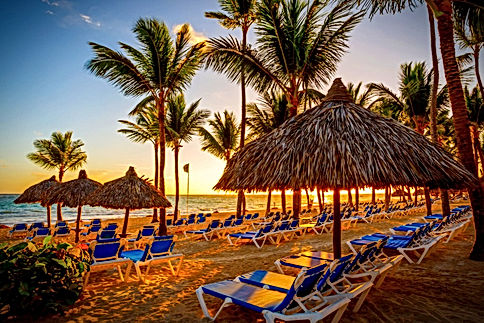 Beach Chairs - Palm Trees - Sunset - DR.
